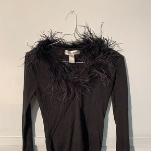 Necessary Objects black feather neck sweater